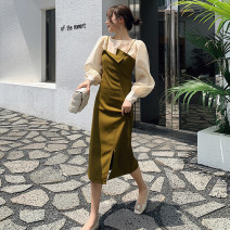 Dress Autumn 2020 S,M,L Mid length dress Two piece set Sleeveless commute V-neck High waist Solid color zipper A-line skirt other camisole Type O Ol style Open back, stitching, asymmetric, zipper