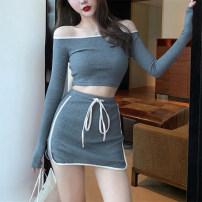 Dress Spring 2020 S,M,L,XL,2XL Short skirt Two piece set Long sleeves commute One word collar High waist Solid color Socket Pencil skirt routine Others 18-24 years old Type H Luo qianxu Simplicity More than 95% brocade cotton