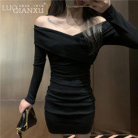 Dress Autumn 2020 Black, white S,M,L,XL Short skirt singleton  Long sleeves commute One word collar High waist Solid color Socket One pace skirt routine Others 18-24 years old Type H Luo qianxu Korean version 8823-6 long sleeve More than 95% brocade cotton