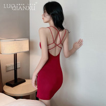 Dress Summer 2021 Red, black, white, gray S,M,L,XL Short skirt singleton  Sleeveless commute square neck middle-waisted Solid color Socket Pencil skirt other camisole 18-24 years old Type H Luo qianxu backless More than 95% brocade cotton