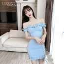 Dress Summer 2021 Blue, black S,M,L,XL Short skirt Two piece set Long sleeves commute One word collar middle-waisted Solid color Socket Pencil skirt routine camisole 18-24 years old Type H Luo qianxu backless More than 95%