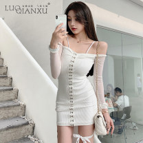 Dress Winter 2020 White, black S,M,L,XL Short skirt singleton  Sleeveless commute One word collar High waist Solid color Socket One pace skirt routine camisole 18-24 years old Type H Luo qianxu Korean version backless 81-97 More than 95% polyester fiber