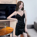 Dress Summer 2021 Black, red, blue S,M,L,XL Short skirt singleton  Sleeveless commute V-neck High waist Solid color Socket Pencil skirt routine camisole 18-24 years old Type H Luo qianxu backless 83-15 30% and below other polyester fiber