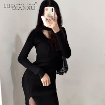Dress Spring 2021 black S,M,L,XL longuette singleton  Long sleeves commute Crew neck High waist Solid color Socket One pace skirt routine 18-24 years old Type H Luo qianxu Splicing knitting polyester fiber