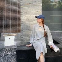 Dress Autumn 2020 Gray, black Average size Mid length dress Two piece set Solid color Type H More than 95% cotton
