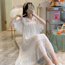 Nightdress Yu Xiaoxiao 160 (m), 165 (L), 170 (XL), pay attention to small gifts from the store, buy 2 pieces in the whole store, and automatically reduce 5 yuan if you take a picture Sweet Short sleeve Leisure home Middle-skirt summer Solid color youth Crew neck cotton lace Mesh fabric