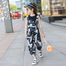 suit Other / other black 110cm,120cm,130cm,140cm,150cm,160cm,170cm female summer Korean version Short sleeve + pants 2 pieces Thin money There are models in the real shooting nothing stripe cotton children Expression of love Suspender vest suit Class B Cotton 90% other 10% Chinese Mainland