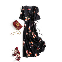 Dress Summer 2020 Tulip with black background S,M,L,XL Mid length dress singleton  Short sleeve commute V-neck middle-waisted Big flower other routine Others Eissicala / escala Korean version Lace up, button, print 30% and below other silk