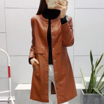leather clothing Maple flower Winter of 2018 M L XL XXL XXXL Medium length Self cultivation Crew neck other routine PU 25-29 years old Wash skin PU Exclusive payment of tmall