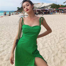 Dress Summer 2020 XS,S,M,L Middle-skirt singleton  Sleeveless street One word collar middle-waisted Dot zipper camisole 18-24 years old 91% (inclusive) - 95% (inclusive) other Europe and America