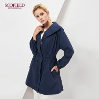 Windbreaker Summer of 2018 165 155 160 170 175 Navy Blue Long sleeves routine Medium length commute other V-neck routine Solid color Self cultivation lady SCOFIELD 30-34 years old 51% (inclusive) - 70% (inclusive) cotton Cotton 63% polyamide fiber (nylon) 32% polyurethane elastic fiber (spandex) 5%
