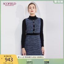 Dress Spring 2021 Navy Blue 155 160 170 175 165 Middle-skirt singleton  Sleeveless Crew neck middle-waisted Solid color 30-34 years old SCOFIELD SFOWB6109Q 30% and below polyester fiber Viscose 39% cotton 23% polyester 15% wool 13% others 10% Same model in shopping mall (sold online and offline)