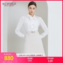 Dress Spring 2021 Ivory white Mid length dress Short sleeve commute V-neck Solid color other other routine Others 30-34 years old Type X SCOFIELD Britain Frenulum More than 95% other polyester fiber Polyester 100% Same model in shopping mall (sold online and offline)