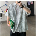 shirt Youth fashion CAESTYIECR M L XL 2XL Light blue black routine Button collar Short sleeve easy Other leisure summer jihhgff1 teenagers Cotton 100% tide 2021 lattice Plaid Spring 2021 No iron treatment Asymmetry Pure e-commerce (online only)