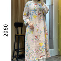 Women's large Summer 2020 Blue, pink Average size Dress other easy thin Socket Long sleeves other printing and dyeing 40-49 years old 81% (inclusive) - 90% (inclusive) Cotton 81% - 90%