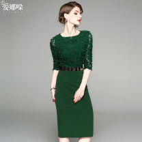 Dress Autumn of 2019 Green, black XXL,S,M,L,XL Mid length dress Fake two pieces three quarter sleeve commute Crew neck High waist Solid color zipper One pace skirt routine Others 30-34 years old Type O Enadole Ol style Lace