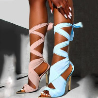 Sandals 35,36,37,38,39,40,41,42 Apricot, light blue, pink, black Mesh Other / other Barefoot Fine heel Super high heel (over 8cm) Summer 2021 Youth (18-40 years old), general Ribbon combination, Roman style 8-1 Roman shoes
