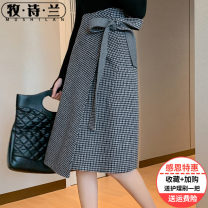 skirt Winter 2020 Average size Black and white coffee Khaki Mid length dress sexy Natural waist A-line skirt lattice Type A 25-29 years old MSL-PS20208 51% (inclusive) - 70% (inclusive) Mu Shilan wool Lace up Wool 70% new polyester 30% Pure e-commerce (online only)