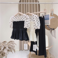 shirt Single black, single Beige Other / other female 110cm / tag 7120cm / tag 9130cm / tag 11140cm / tag 13150cm / tag 15160cm / tag 17 summer Short sleeve French Dot other Other 100% other
