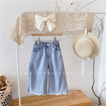 trousers Other / other female 95cm (hang tag size 5), 105cm (hang tag size 7), 115cm (hang tag size 9), 125cm (hang tag size 11), 135cm (hang tag size 13), 145cm (hang tag size 15) Blue 3217 in stock summer Ninth pants Korean version No model Jeans Leather belt middle-waisted Denim Happy pumpkin