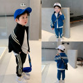suit Other / other Blue, black 80cm,90cm,100cm,110cm,120cm,130cm,140cm neutral spring and autumn motion Long sleeve + pants 2 pieces routine There are models in the real shooting Socket nothing Solid color Cotton blended fabric children Giving presents at school Sports zipper cardigan with stripe