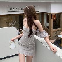 Dress Summer 2021 Coat, dress S, M Short skirt Short sleeve commute One word collar High waist lattice A-line skirt Type A Retro