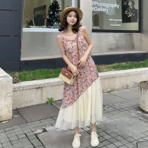 Dress Summer 2021 Picture color S,M,L,XL Mid length dress singleton  Sleeveless Sweet One word collar High waist Decor Single breasted Irregular skirt other camisole 18-24 years old Type A Stitching, screening, printing 81% (inclusive) - 90% (inclusive) Chiffon polyester fiber Bohemia