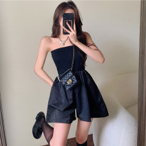 Casual pants White, black Average size Summer 2021 shorts Jumpsuit High waist commute routine 18-24 years old Retro