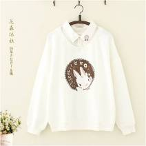 Sweater / sweater Autumn of 2018 White, light gray, pink, blue, apricot (plush), blue (plush), pink (plush) Average size Long sleeves routine Socket Fake two pieces routine Polo collar easy Sweet raglan sleeve Cartoon animation 18-24 years old 51% (inclusive) - 70% (inclusive) Other / other cotton