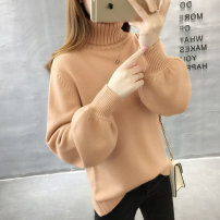 sweater Winter 2017 S M L XL Blue, black, apricot, orange, bean, green, pure white, pink, off white Long sleeves Socket singleton  Regular other 95% and above High collar thickening commute bishop sleeve Solid color Straight cylinder Regular wool Keep warm and warm 18-24 years old Xilanzi LXZ17004