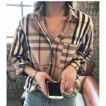 shirt Khaki, white bra M,L,XL,2XL,3XL Spring 2021 cotton 96% and above Long sleeves commute Polo collar Single row multi button routine lattice 25-29 years old Straight cylinder Other / other Korean version Button pure cotton