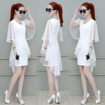Dress Summer 2020 White, black, red longuette Short sleeve V-neck Socket Flying sleeve