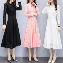 Dress Autumn of 2019 S,M,L,XL,2XL,3XL longuette singleton  Long sleeves commute stand collar middle-waisted Solid color Socket Big swing routine Others Type A Other / other Korean version 81% (inclusive) - 90% (inclusive) Lace