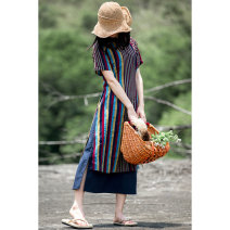 Dress Summer of 2018 stripe S,M,L,XL,2XL,3XL Mid length dress Fake two pieces Short sleeve commute stand collar High waist stripe Socket A-line skirt raglan sleeve Hanging neck style 25-29 years old Type A Fairy train literature Pocket, button, zipper X304 81% (inclusive) - 90% (inclusive) cotton