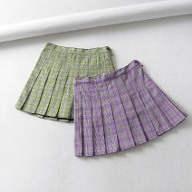 skirt Summer of 2019 XS,S,M,L Green, purple Short skirt street High waist Pleated skirt lattice Type A 18-24 years old 81% (inclusive) - 90% (inclusive) other other zipper Europe and America
