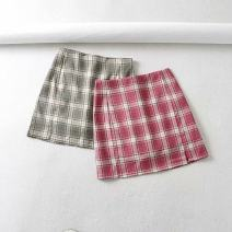 skirt Summer 2020 S,M,L Retro brick red, retro green, retro gray Short skirt Versatile High waist High waist skirt lattice Type O 18-24 years old WT811 71% (inclusive) - 80% (inclusive) other polyester fiber