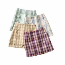 skirt Summer 2020 S,M,L Short skirt street High waist skirt lattice Type O 18-24 years old 71% (inclusive) - 80% (inclusive) other polyester fiber Europe and America