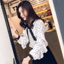 shirt White 393 black 8022 pink 339 reddish brown 321 white 385 white S M L XL 2XL Autumn of 2019 other 96% and above Long sleeves commute Regular Crew neck Single row multi button Lotus leaf sleeve Dot 25-29 years old Thing in itself Korean version 2019QZ0003 Other 100%