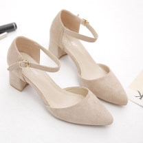 Sandals 34,35,36,37,38,39,40 Black, apricot, pink Suede Other / other Baotou Thick heel Middle heel (3-5cm) Summer 2021 Flat buckle Korean version Solid color Adhesive shoes rubber daily Front and rear trip strap Thick heel, thin strap combination, ankle strap Low Gang Hollow PU PU 3168--6 Frosting