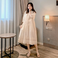 Dress Summer 2020 Off white S M L XL XXL Mid length dress singleton  Short sleeve commute Crew neck Loose waist Solid color Socket Big swing routine Others 25-29 years old Taer bear Korean version More than 95% other Other 100% Pure e-commerce (online only)