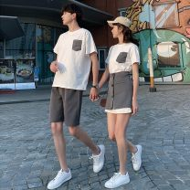 T-shirt Women's suit, men's suit, men's T-shirt, men's shorts S,M,L,XL,2XL,3XL Summer 2021 Short sleeve Crew neck Straight cylinder Medium length routine commute cotton 51% (inclusive) - 70% (inclusive) 18-24 years old Korean version love Color matching Pockets, buttons, stitching
