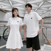 T-shirt Men's black shorts, men's white shorts, men's coat (black love), men's coat (red love), women's dress (black love), women's dress (red love) S,M,L,XL,2XL,3XL Summer 2021 Short sleeve Polo collar Straight cylinder Medium length routine commute nylon 86% (inclusive) -95% (inclusive) love 930#