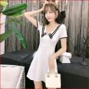Dress Spring 2020 White, black, fruit green, pink M,XL,L,S Short skirt singleton  Short sleeve commute V-neck middle-waisted Solid color Socket A-line skirt Type A other