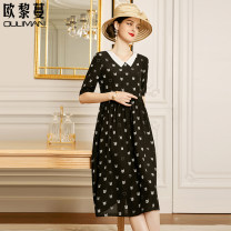 Dress Summer 2021 black 160/84A/S 165/88A/M 170/92A/L 175/96A/XL Mid length dress singleton  elbow sleeve commute square neck Loose waist Cartoon animation Socket A-line skirt routine 30-34 years old Type A Euriman Ol style printing LYQ2508 More than 95% silk Mulberry silk 100%
