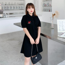 Women's large Summer 2021 Black / Collection Plus Priority Shipping Large XL, 2XL, 3XL, 4XL Dress singleton  commute Self cultivation thin Conjoined Short sleeve Korean version Polo collar Medium length Three dimensional cutting Wrap sleeves Mu Ling 25-29 years old Button Medium length Lantern skirt