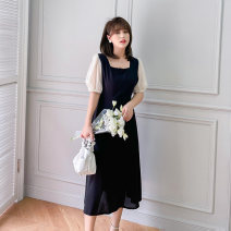 Women's large Summer 2021 Black / Collection Plus Priority Shipping Large XL, 2XL, 3XL, 4XL Dress singleton  commute easy thin Conjoined Short sleeve Korean version square neck Medium length Three dimensional cutting puff sleeve Mu Ling 25-29 years old zipper Medium length Pleated skirt