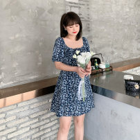 Women's large Summer 2021 Blue / Collection Plus Priority Shipping Large XL, 2XL, 3XL, 4XL Dress singleton  commute easy thin Conjoined Short sleeve Korean version One word collar Medium length Three dimensional cutting bishop sleeve L12ML20330 Mu Ling 25-29 years old zipper Medium length