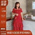 Women's large Summer 2021 Red / Collection Plus priority delivery Large XL, 2XL, 3XL, 4XL Dress singleton  commute Self cultivation moderate Conjoined Short sleeve Dot, solid, floral Korean version square neck Polyester, others Three dimensional cutting routine L93ML19329 Mu Ling 25-29 years old