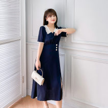 Women's large Summer 2021 Navy / Collection Plus priority Large XL, 2XL, 3XL, 4XL Dress singleton  commute easy thin Conjoined Short sleeve Korean version V-neck Medium length Three dimensional cutting puff sleeve L12ML20378 Mu Ling 25-29 years old Button Medium length Pleated skirt