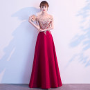 Dress / evening wear Weddings, adulthood parties, company annual meetings, daily appointments XS S M L XL XXL XXL customization contact customer service Korean version longuette middle-waisted Autumn of 2019 Fall to the ground One shoulder zipper 18-25 years old FLLLF247 Sleeveless Embroidery Falilou